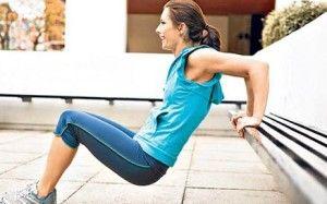 Упражнение на трицепс - отжимание от опоры