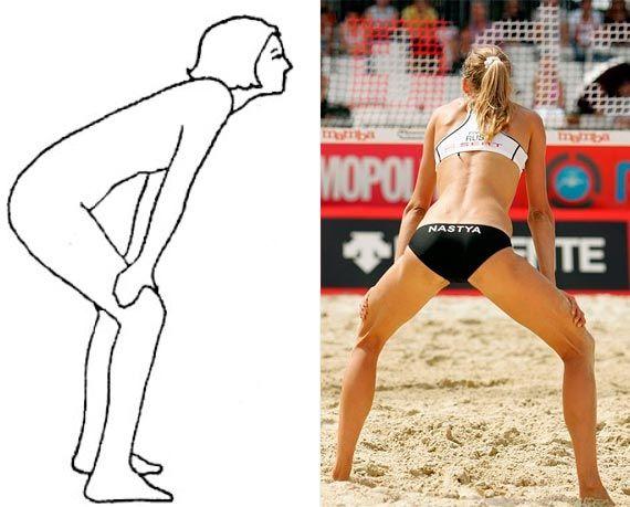 Поза волейболиста в бодифлексе